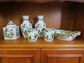 """Seven pieces of Masons Ironstone """"Chartreuse"""" design including two vases, a pair of ginger jars,"""