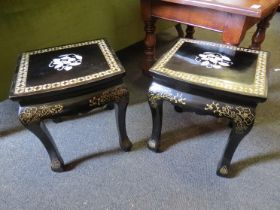 A pair of 20th Century oriental lacquered side tables,