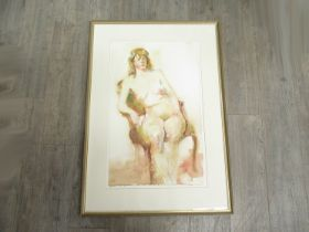 TREVOR STUBLEY (1932-2010): A framed and glazed watercolour of a female nude. Signed bottom right.
