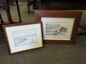 JASON PARTNER: A watercolour of windmill overlooking estuary scene and a print of Sheringham both