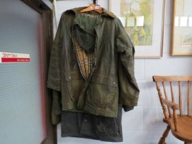 Four waxed jackets including Berberrys and three pairs of ladies fashion boots