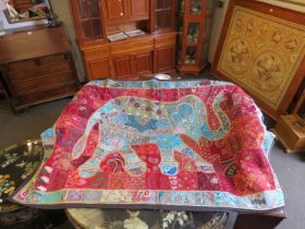 A highly decorative indian hand stiched throw
