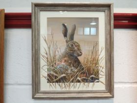 MARK CHESTER (B.1960): A framed & glazed watercolour titled 'Watchful Hare' signed lower right.