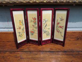 A miniature oriental design folding display screen,