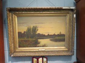 A Victorian oil on canvas 'Evening Richmond, gilt gesso frame,
