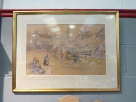 PHILLIS I JOHNSTON: (1905-1992) A watercolour of figures at town market, framed and glazed,