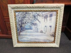 After E Benezit: A mediterranean print with heavy frame,