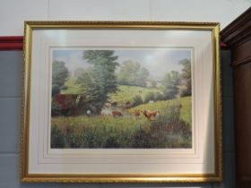 A limited edition print of cows in a meadow, No.
