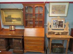 A modern oak bureau bookcase, 200cm tall, 86cm wide,