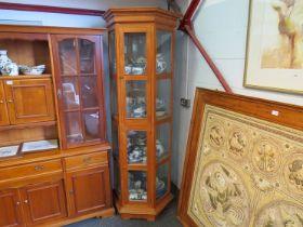 A rustic pine hexagonal glazed cabinet, approx.