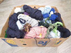 """A box containing a large quantity of vintage wool yarns including """"Patons"""" Super Bouclet,"""