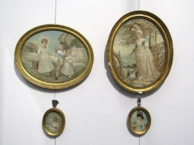 Four late 18th Century silkwork pictures in gilt gesso oval frames depicting children and female