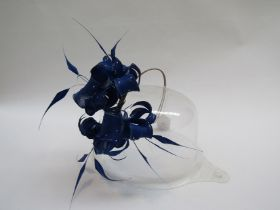 Philip Treacy fascinator in royal blue with crystal and feather embellishments