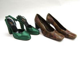 Vintage Italian green satin heeled evening shoes with beaded detail,