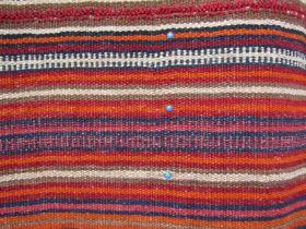 A late 19th Century Iranian hand woven Jajim, stripe design in orange, navy,