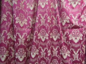 Seven red ground curtains in the country house style with gold flock pattern,
