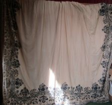 Two pairs 19th Century exceptionally beautiful large curtains with indigo block print border with