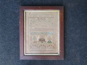 A 19th Century sampler worked by Matilda Durrant in her 11th year, framed and glazed,