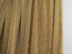 Three pairs of gold ground country house style curtains with a raised chenille raised flock pattern,