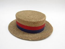 Victorian gentleman's straw boater hat by Dunn & Co