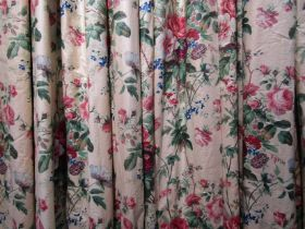 Three pairs of glazed cotton country house curtains, Roccoco blousey flowers,