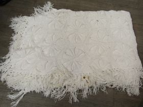 Two white cotton hand crochet bed spreads circa 1920's,