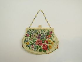 Fine quality antique petit point tapestry bag