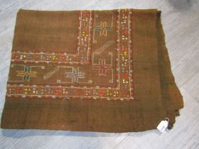 A Turkish hand woven wool throw, hand embroidered,