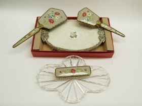 Vintage embroidered dressing table set - glass dressing table tray,