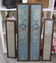 Two pairs of Oriental silk panels,