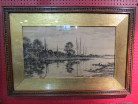 A carved oak framed and glazed signed engraving depicting riverside village scene from 'London