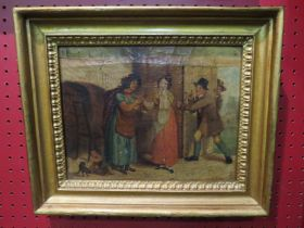 A gilt framed 19th Century oil on canvas interior scene indistinctly signed lower right, 18.