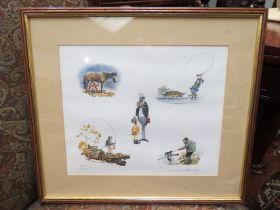 A Norman Thelwell signed limited edition print number 59/2500 depicting humorous countryside