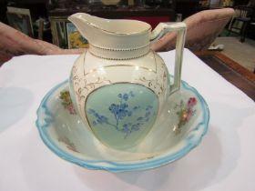 A Victorian wash jug and associated bowl,