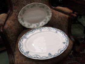 """A Losol ware blue and white meat plate and a """"Trentham"""" pattern meat plate"""
