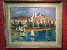 VALERIE MACKENZIE (XX): An oil on board of Italian coastal scene, framed, 49cm high x 65.