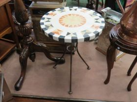 A tripod occasional table with Mosaic tile effect top,