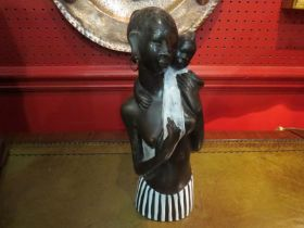 An Anzengruber Keramik German bronzed pottery figure of ethnic lady and child,