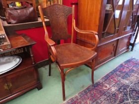 """Circa 1900 a """"Jacob and Josef Kohn"""" of Vienna Arts and Crafts bentwood elbow chair with embossed"""