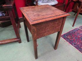 An oak sewing box