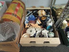 A box containing mixed ceramics including Royal Albert coffee ware, Wedgwood Jasperware etc.