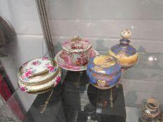 Four ceramic lidded pots including Noritake