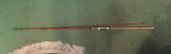 A two piece split cane fly fishing rod,