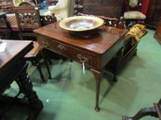 A Georgian mahogany single drawer side table on slender cabriole legss,