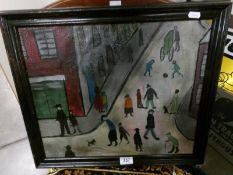A 20th century oil on canvas in the style of L S Lowry. A street scene in a busy town.