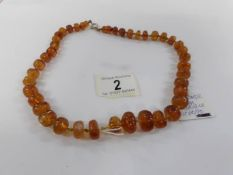 A vintage amber necklace.