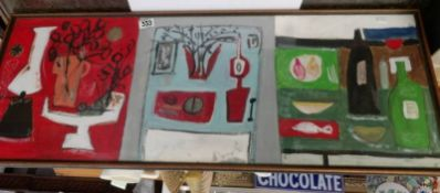 A triptych of abstract still life paintings in acrylic on board, framed and glazed.