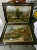A pair of framed and glazed rural scene watercolours signed F Walton.