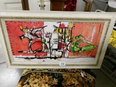 An unusual 20th century acrylic and pencil on board, abstract composition with insects, framed.