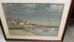 Joan Sealey Oil on board painting entitled Harbour Beach St Ives signed and dated 1975